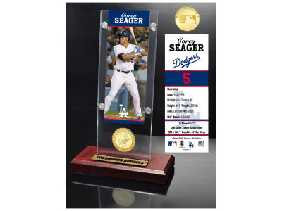 Los Angeles Dodgers Corey Seager Highland Mint Ticket & Bronze Coin Acrylic Desk Top