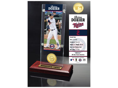 Minnesota Twins Brian Dozier Highland Mint Ticket & Bronze Coin Acrylic Desk Top