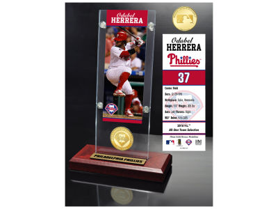 Philadelphia Phillies Obudel Herrera Highland Mint Ticket & Bronze Coin Acrylic Desk Top