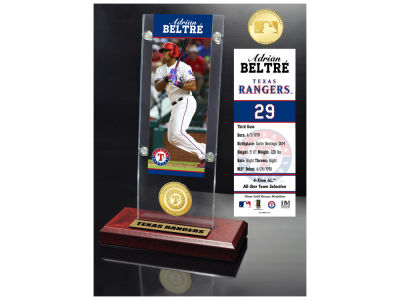 Texas Rangers Adrian Beltre Highland Mint Ticket & Bronze Coin Acrylic Desk Top
