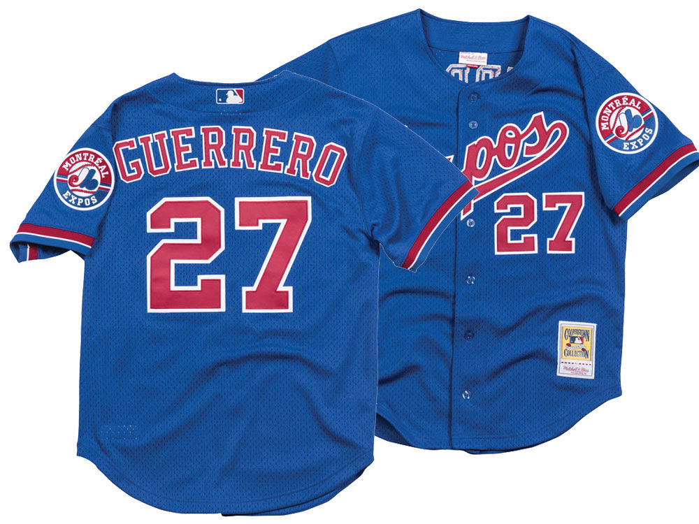 ebfbec0e1f03cc Montreal Expos Vladimir Guerrero Mitchell   Ness MLB Men s Authentic Mesh  Batting Practice V-Neck Jersey