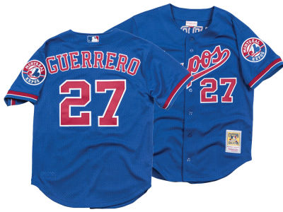 Montreal Expos Vladimir Guerrero Mitchell & Ness MLB Men's Authentic Mesh Batting Practice V-Neck Jersey
