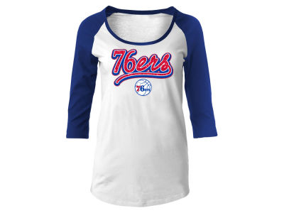Philadelphia 76ers 5th & Ocean NBA Women's Glitter Raglan T-Shirt