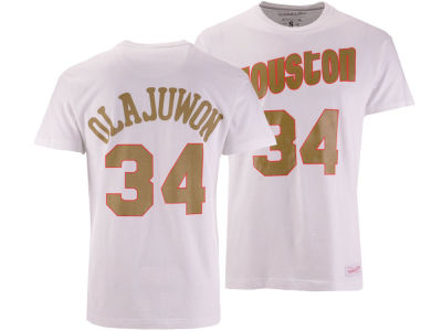 Houston Rockets Hakeem Olajuwon Mitchell & Ness NBA Men's Gold Collection Name and Number T-shirt