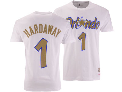 Orlando Magic Penny Hardaway Mitchell & Ness NBA Men's Gold Collection Name and Number T-shirt