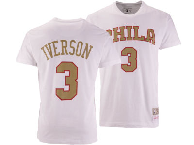 Philadelphia 76ers Allen Iverson Mitchell & Ness NBA Men's Gold Collection Name and Number T-shirt