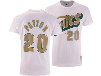 Seattle SuperSonics Gary Payton Mitchell & Ness NBA Men's Gold Collection Name and Number T-shirt