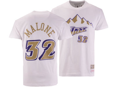 Utah Jazz Karl Malone Mitchell & Ness NBA Men's Gold Collection Name and Number T-shirt