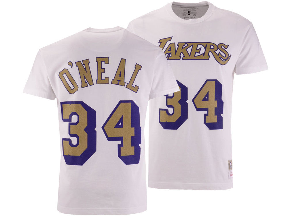 e416d270b827 Los Angeles Lakers Shaquille O Neal Mitchell   Ness NBA Men s Gold  Collection Name and Number T-shirt