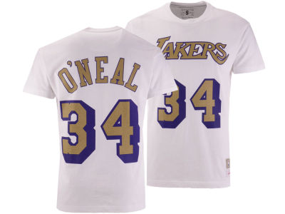 Los Angeles Lakers Shaquille O'Neal Mitchell & Ness NBA Men's Gold Collection Name and Number T-shirt