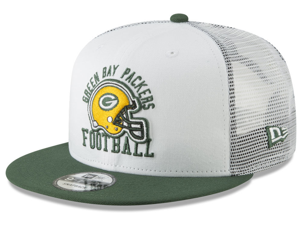 Green Bay Packers New Era NFL Vintage Mesh Trucker 9FIFTY Snapback Cap  73170a02fc7
