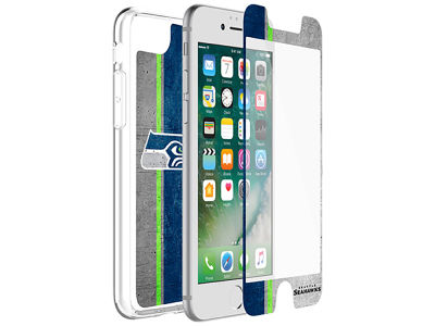 Seattle Seahawks OtterBox iPhone Alpha Glass Protector With Clear Case