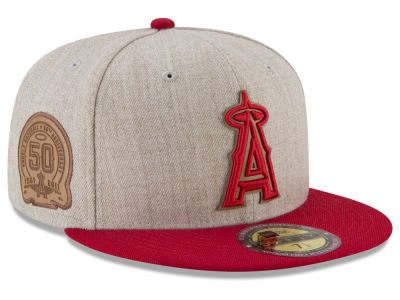 Los Angeles Angels New Era MLB Leather Ultimate Patch Collection 59FIFTY Cap