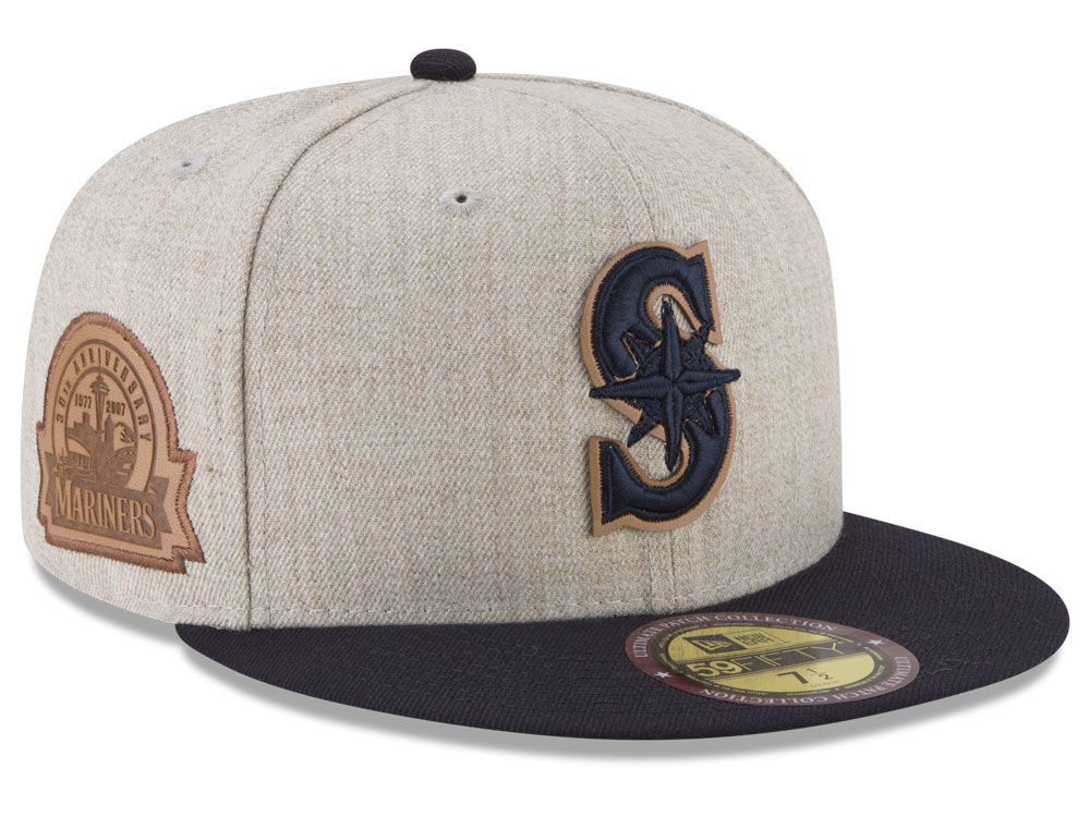 Seattle Mariners New Era MLB Leather Ultimate Patch Collection 59FIFTY Cap   44ea075c5619