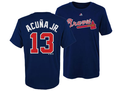 Atlanta Braves Ronald Acuna Majestic MLB Kids Official Player T-Shirt