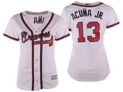 Atlanta Braves Ronald Acuna Majestic MLB Women's Cool Base Player Replica Jersey