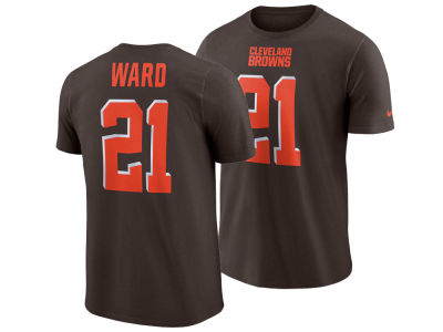 Cleveland Browns Denzel Ward Nike NFL Men's Pride Name and Number Wordmark T-shirt