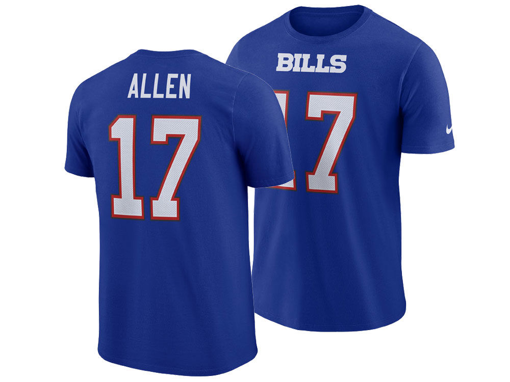 e160e288e Buffalo Bills Josh Allen Nike NFL Men s Pride Name and Number Wordmark T- shirt