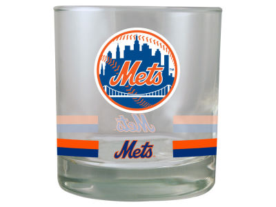 New York Mets 10oz Banded Rocks Glass