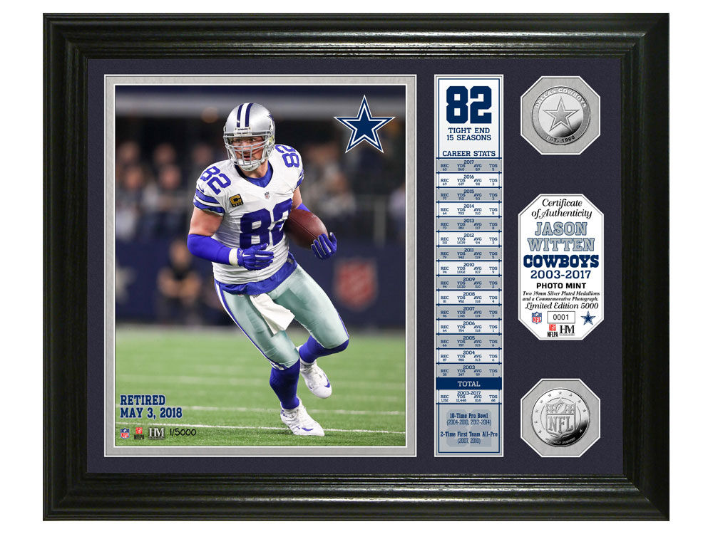bf2ab944e Dallas Cowboys Highland Mint Jason Witten Retirement Banner Coin Photo Mint