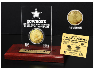 Dallas Cowboys Highland Mint Super Bowl Champs Etched Acrylic Coin
