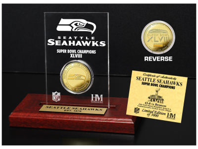 Seattle Seahawks Highland Mint Super Bowl Champs Etched Acrylic Coin