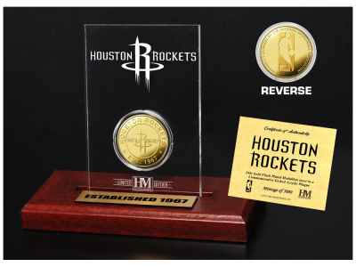 Houston Rockets Highland Mint Gold Coin Etched Acrylic