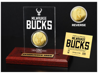 Milwaukee Bucks Highland Mint Gold Coin Etched Acrylic