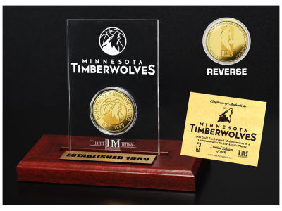 Minnesota Timberwolves Highland Mint Gold Coin Etched Acrylic