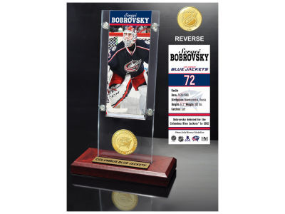 Columbus Blue Jackets Sergei Bobrovsky Highland Mint Ticket & Bronze Coin Acrylic Desk Top