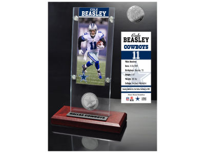 Dallas Cowboys Cole Beasley Highland Mint Ticket & Bronze Coin Acrylic Desk Top