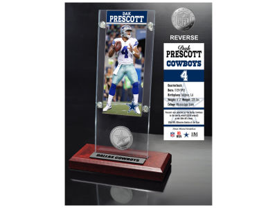 Dallas Cowboys Dak Prescott Highland Mint Ticket & Bronze Coin Acrylic Desk Top