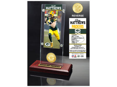 Green Bay Packers Clay Matthews Highland Mint Ticket & Bronze Coin Acrylic Desk Top
