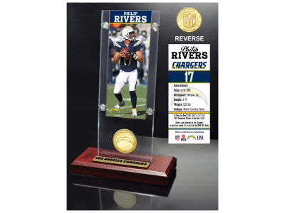 Los Angeles Chargers Philip Rivers Highland Mint Ticket & Bronze Coin Acrylic Desk Top