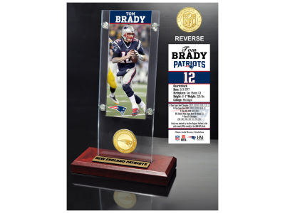 New England Patriots Tom Brady Highland Mint Ticket & Bronze Coin Acrylic Desk Top