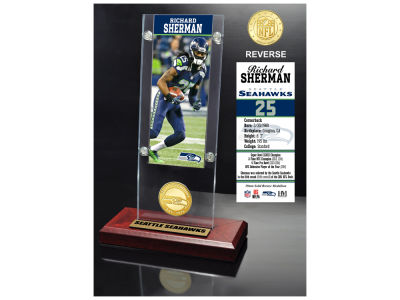 Seattle Seahawks Richard Sherman Highland Mint Ticket & Bronze Coin Acrylic Desk Top