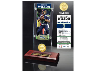 Seattle Seahawks Russell Wilson Highland Mint Ticket & Bronze Coin Acrylic Desk Top