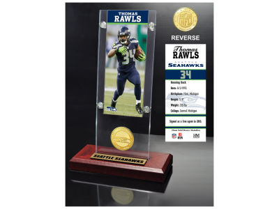 Seattle Seahawks Thomas Rawls Highland Mint Ticket & Bronze Coin Acrylic Desk Top