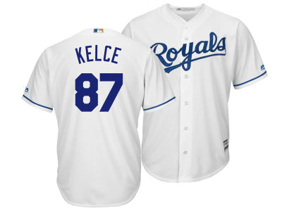 Kansas City Royals Travis Kelce Majestic MLB Men's NFLPA Replica Cool Base Jersey