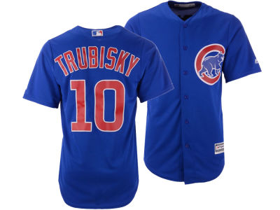 Chicago Cubs Mitchell Trubisky Majestic MLB Men's NFLPA Replica Cool Base Jersey