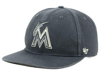 Miami Marlins '47 MLB Garment Washed Navy Snapback Cap