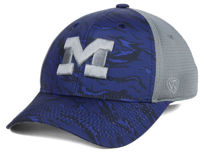 Michigan Wolverines Top of the World NCAA Tiger Camo Flex Cap