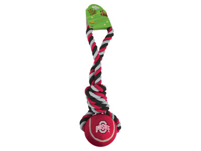 Ohio State Buckeyes NCAA Jumbo Tennis Ball w/ Rope Tug Dog Toy