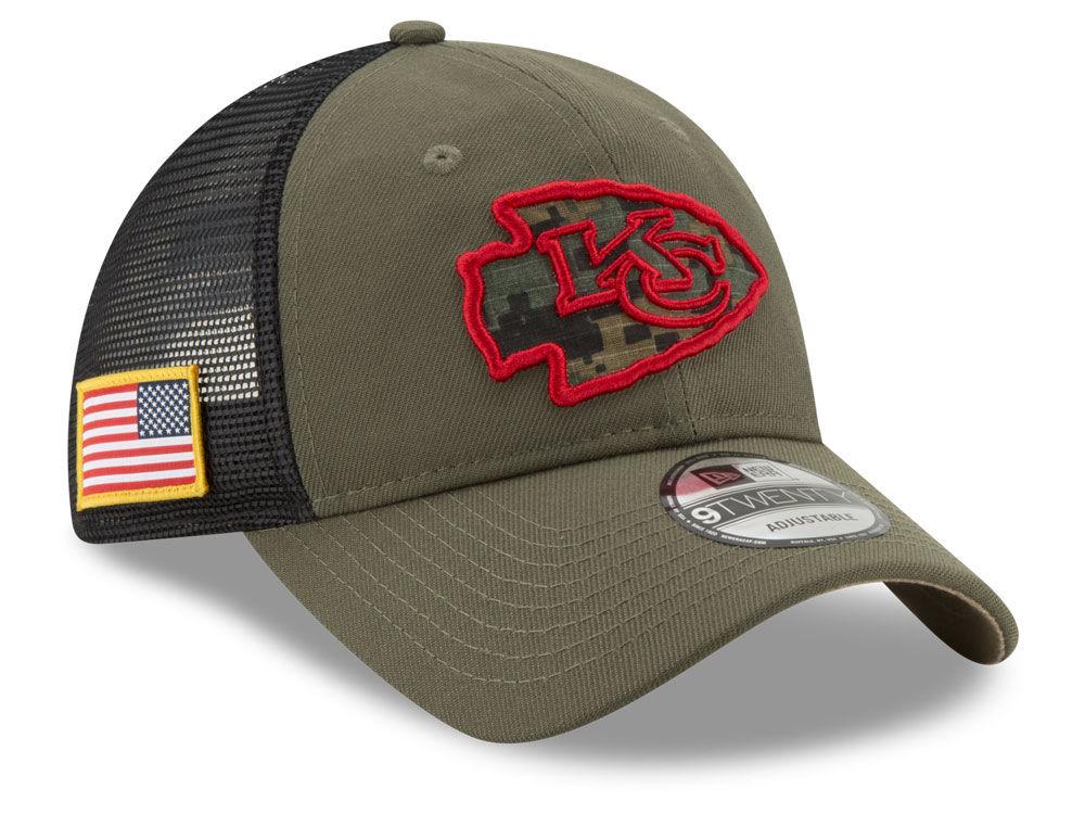 341d2374654 Kansas City Chiefs New Era NFL Camo Service Patch 9TWENTY Trucker Cap