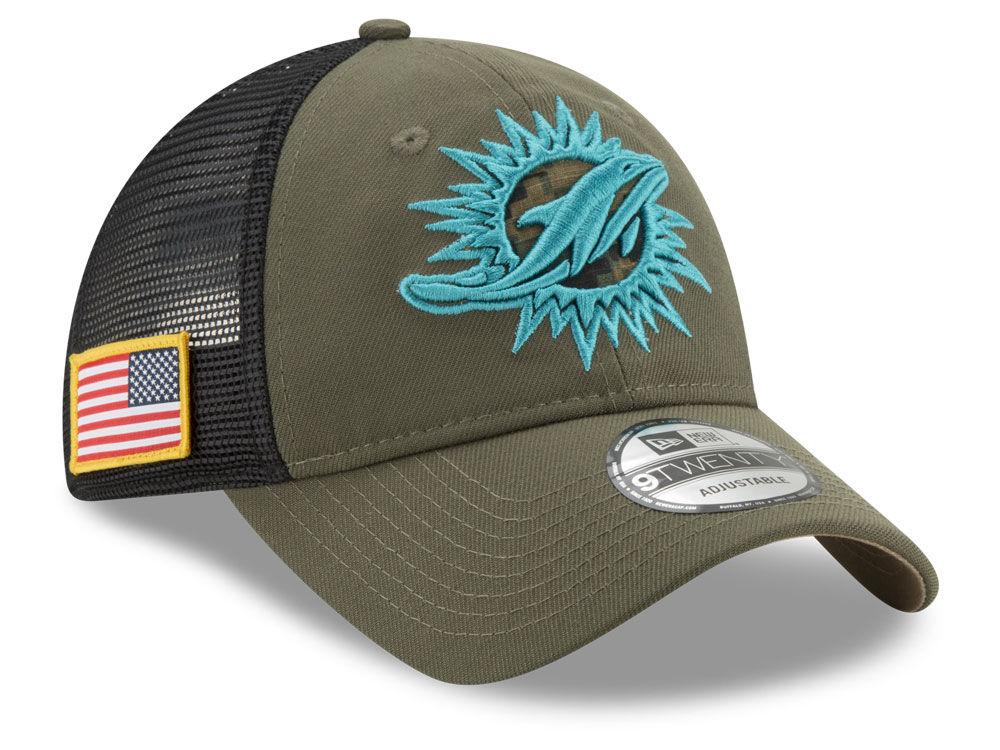 Miami Dolphins New Era NFL Camo Service Patch 9TWENTY Trucker Cap ... 46af05079f9f