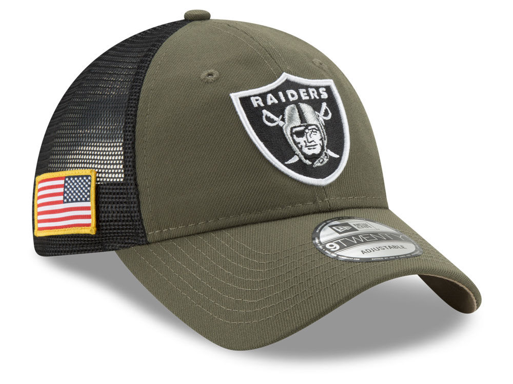 a27985668e4 Oakland Raiders New Era NFL Camo Service Patch 9TWENTY Trucker Cap ...