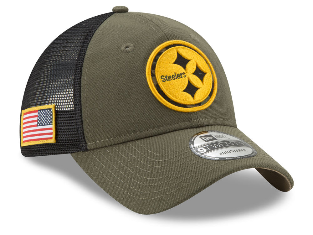 Pittsburgh Steelers New Era NFL Camo Service Patch 9TWENTY Trucker Cap  6c094e566