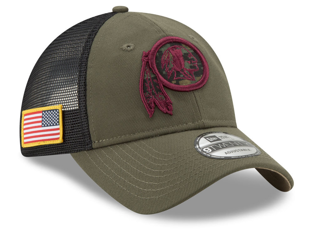 f1e25371175 Washington Redskins New Era NFL Camo Service Patch 9TWENTY Trucker Cap