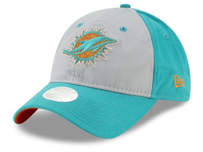 Miami Dolphins New Era NFL Women's Gray Glitter 9TWENTY Cap