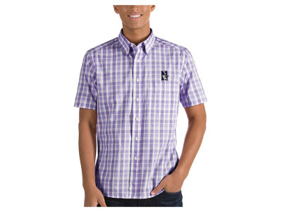 Northwestern Wildcats Antigua NCAA Men's Woven Crew Button Up
